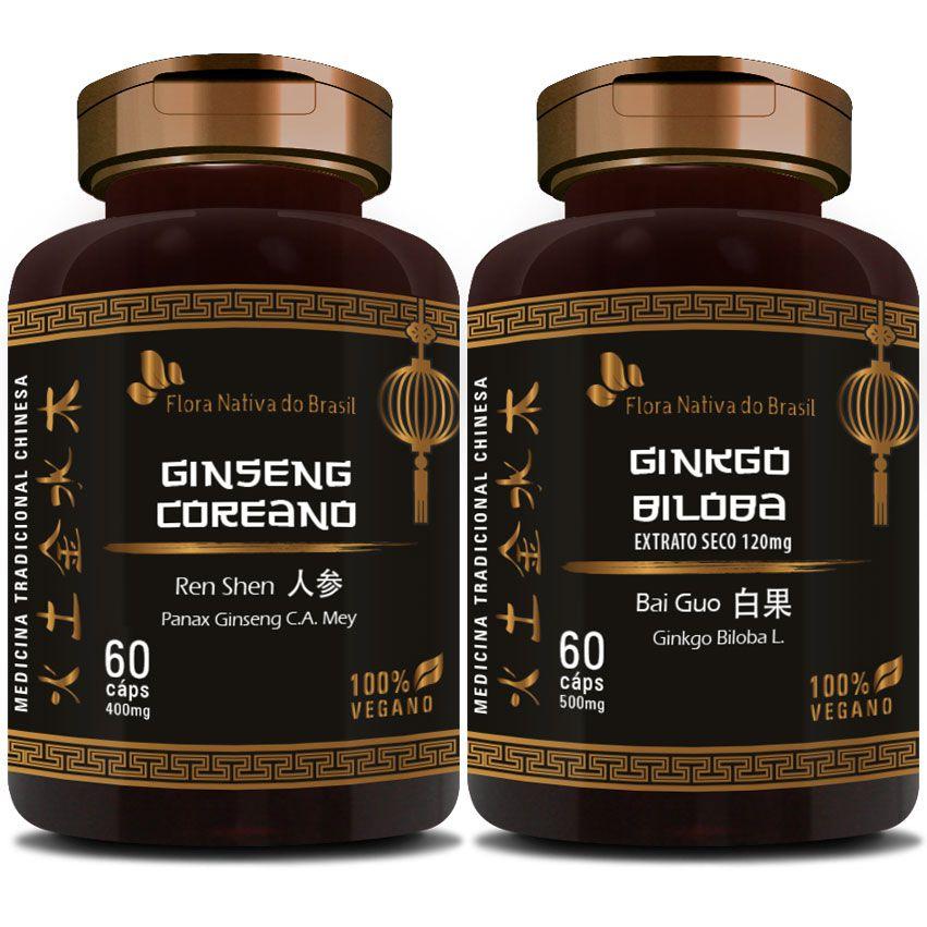 Ginseng Coreano 400mg + Ginkgo Biloba 500mg  - Natural Show - Produtos Naturais, Suplementos e Cosméticos