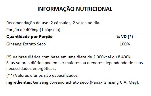 Ginseng Coreano 400mg + Tribullus Terrestris 500mg  - Natural Show - Produtos Naturais, Suplementos e Cosméticos