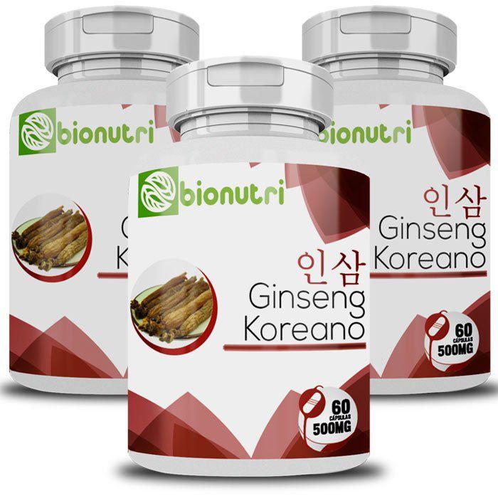 Ginseng Coreano - Original - 500mg - 3 Potes  - Natural Show - Produtos Naturais, Suplementos e Cosméticos