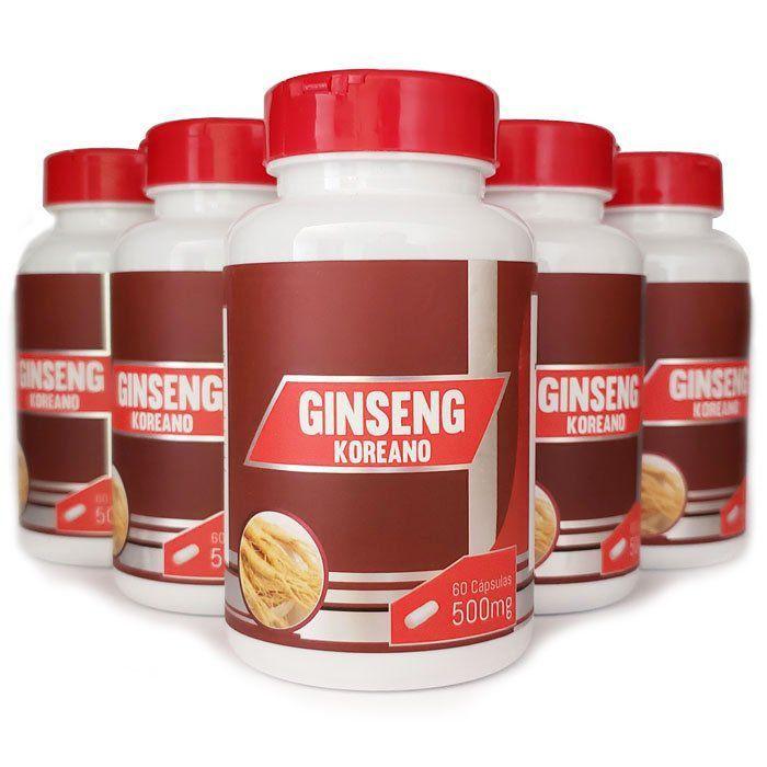 Ginseng Coreano - Original - 500mg - 5 Potes  - Natural Show - Produtos Naturais, Suplementos e Cosméticos