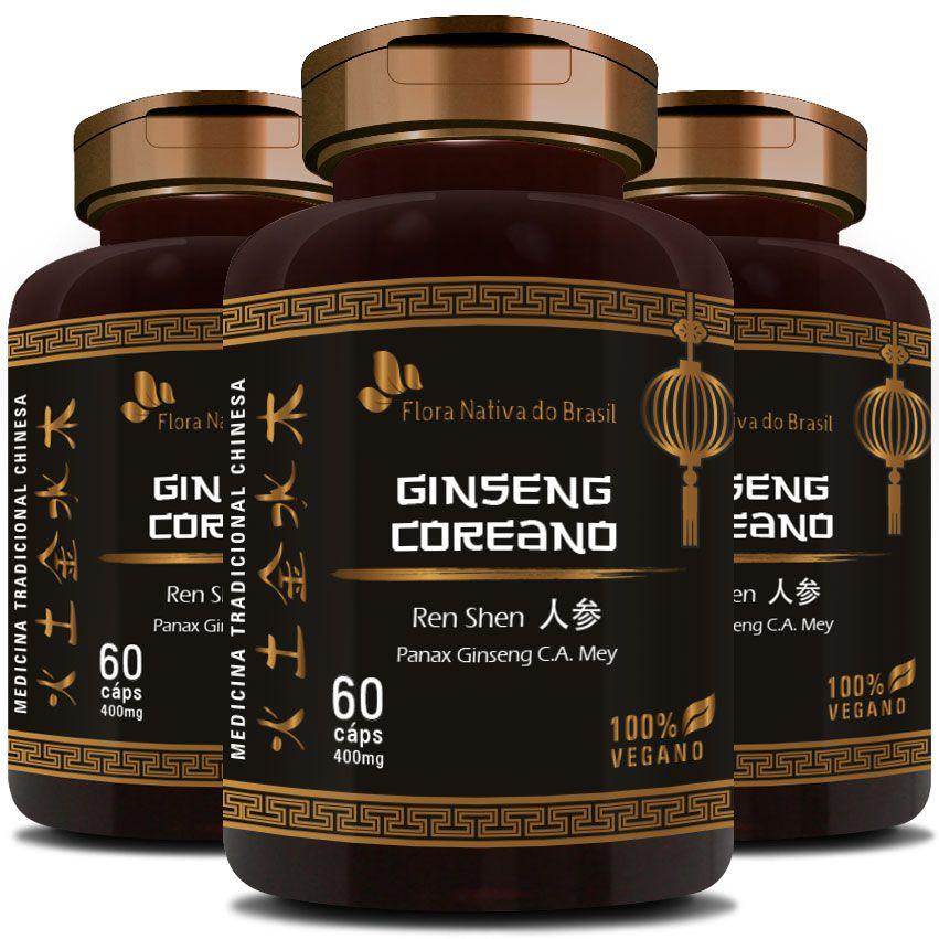 Ginseng Coreano (Ren Shen) 100% Vegano - 400mg - 3 Potes  - Natural Show - Produtos Naturais, Suplementos e Cosméticos