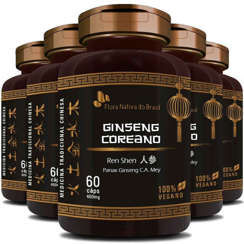 Ginseng Coreano (Ren Shen) 100% Vegano - 500mg - 5 Potes  - Natural Show - Produtos Naturais, Suplementos e Cosméticos