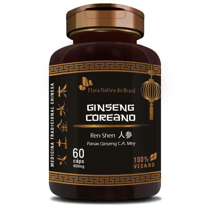 Ginseng Coreano (Ren Shen) 100% Vegano - 60 cápsulas de 400mg  - Natural Show - Produtos Naturais, Suplementos e Cosméticos