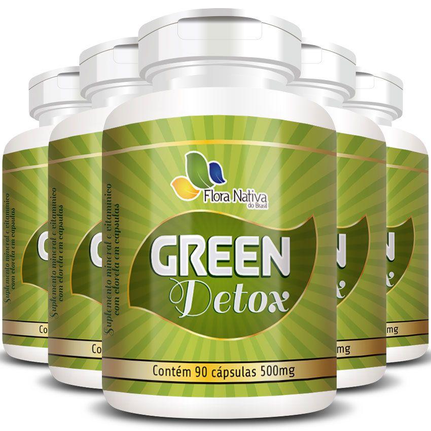 Green Detox Original Chlorella Clorela 500mg - 5 Potes  - Natural Show - Produtos Naturais, Suplementos e Cosméticos