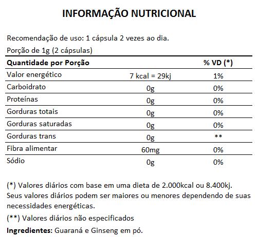 Guaraná + Ginseng 500mg - 60 cápsulas  - Natural Show - Produtos Naturais, Suplementos e Cosméticos