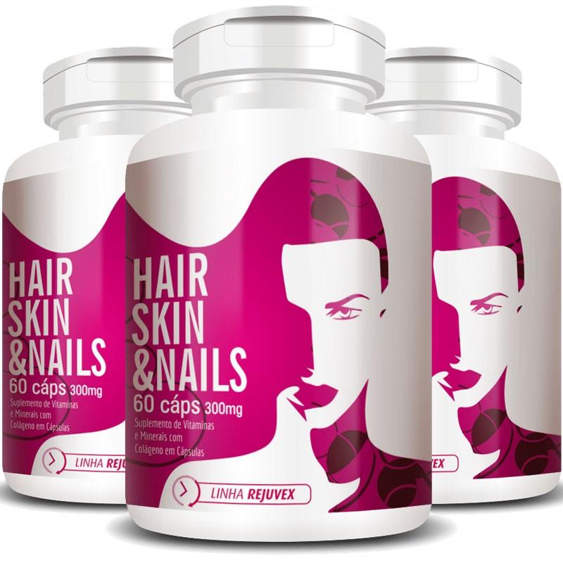 Hair Skin & Nails 300mg | Cabelos, Unhas e Pele - 3 Potes (180 cáps.)