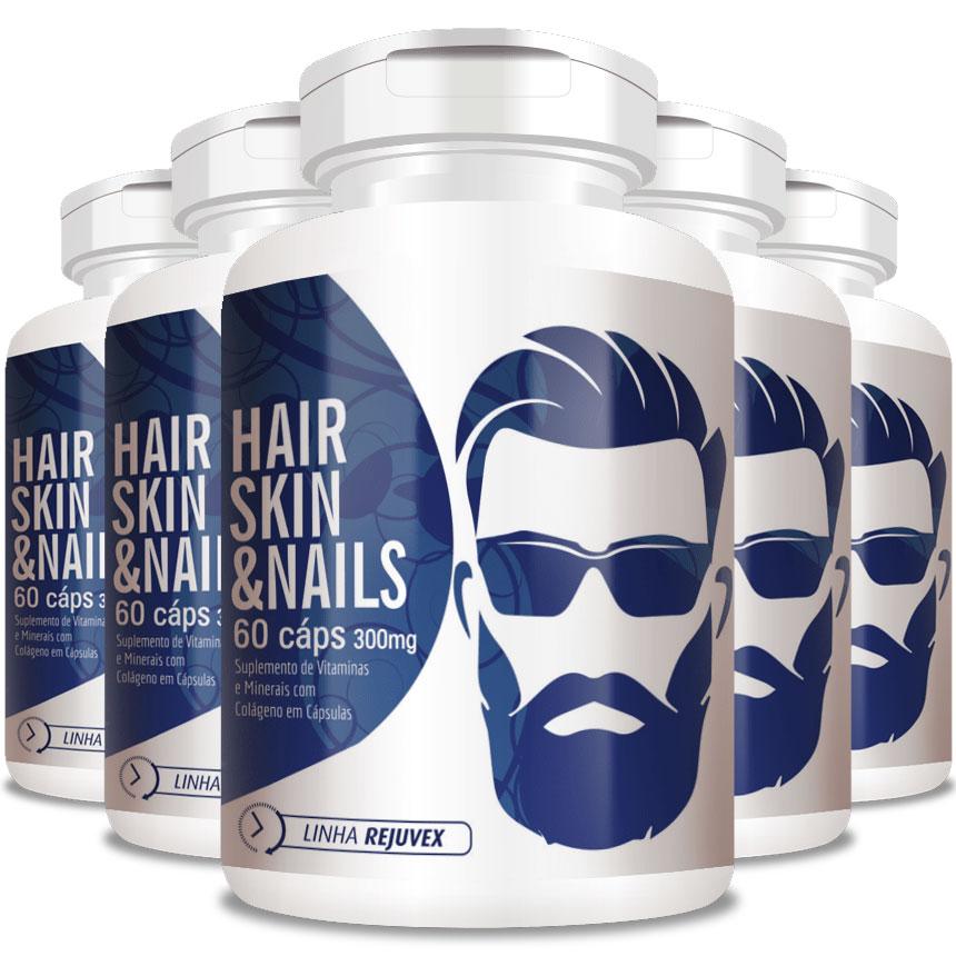 Hair Skin & Nails   Homem - 300mg - Crescimento de Barba - 05 Potes