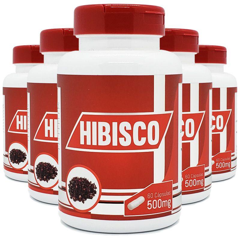 Hibisco - 100% Puro - 5 Potes c/ 60 cápsulas cada  - Natural Show - Produtos Naturais, Suplementos e Cosméticos