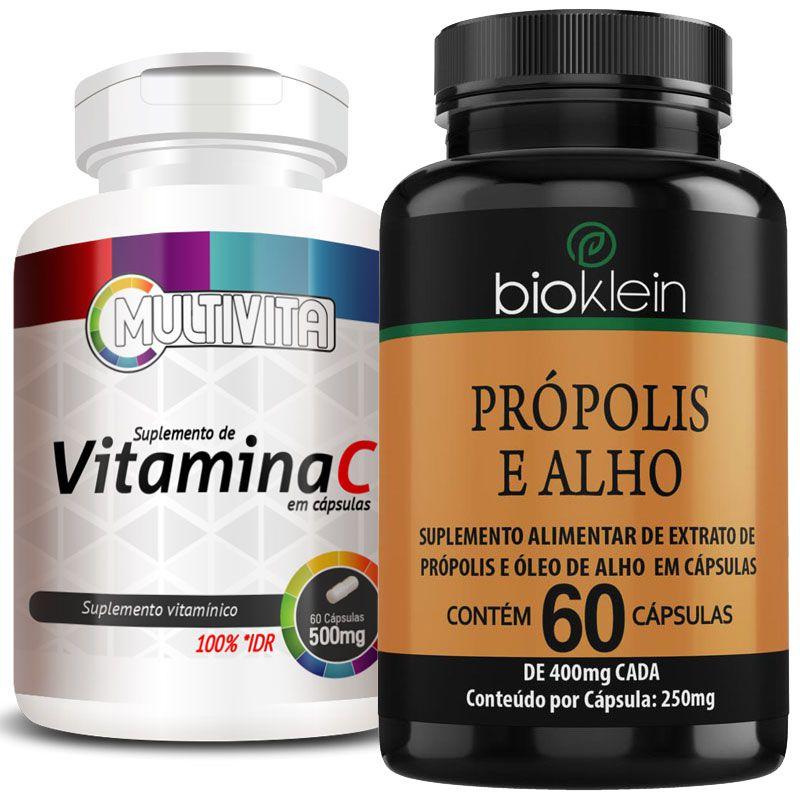 Kit - Aumentar Imunidade - Própolis e Alho + Óleo de Girassol + Vitamina C