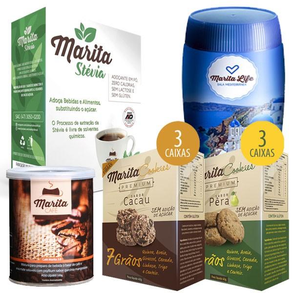 Kit Marita - 1 Café 3.0 + 1 Marita Life (Bala Mediterrânea) + 3 Cookies Cacau + 3 Cookies Pera + Adoçante Marita Stévia  - Natural Show - Produtos Naturais, Suplementos e Cosméticos