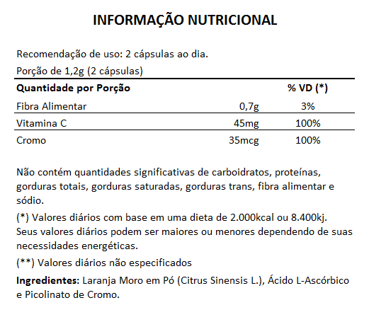 Laranja Moro (Original) + Vitamina C + Picolinato de Cromo -  600mg - 05 Potes (300 cápsulas)  - Natural Show - Produtos Naturais, Suplementos e Cosméticos