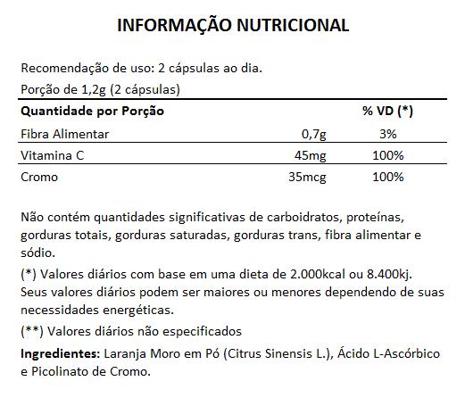 Laranja Moro (Original) + Vitamina C + Picolinato de Cromo - 60 cápsulas de 600mg  - Natural Show - Produtos Naturais, Suplementos e Cosméticos
