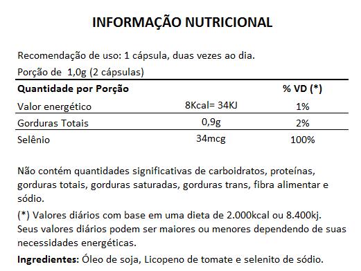 Licopeno + Selênio - 60 cápsulas de 500mg  - Natural Show - Produtos Naturais, Suplementos e Cosméticos