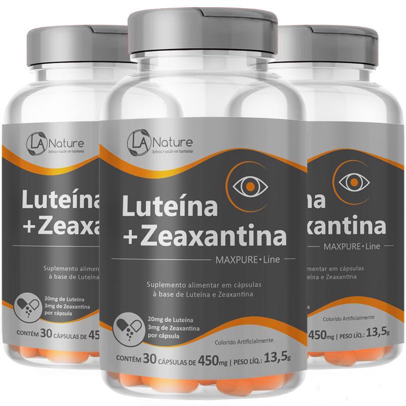 Luteína 20mg + Zeaxantina 3mg - MaxPure Line - 3 Potes (90 cáps.) Original