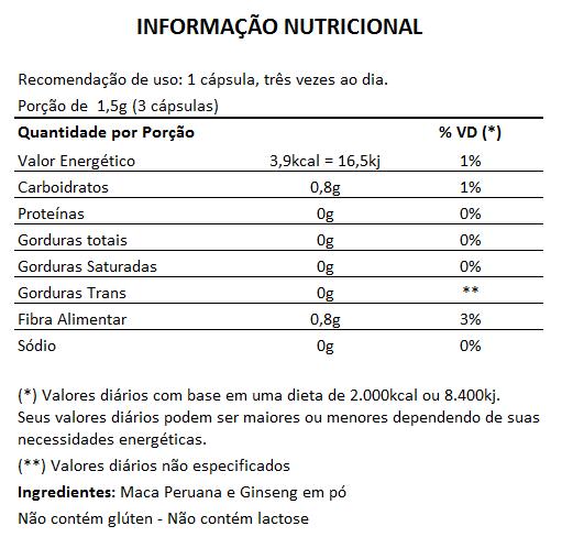 Maca Peruana + Ginseng 500mg - 05 Potes com 100 cápsulas  - Natural Show - Produtos Naturais, Suplementos e Cosméticos