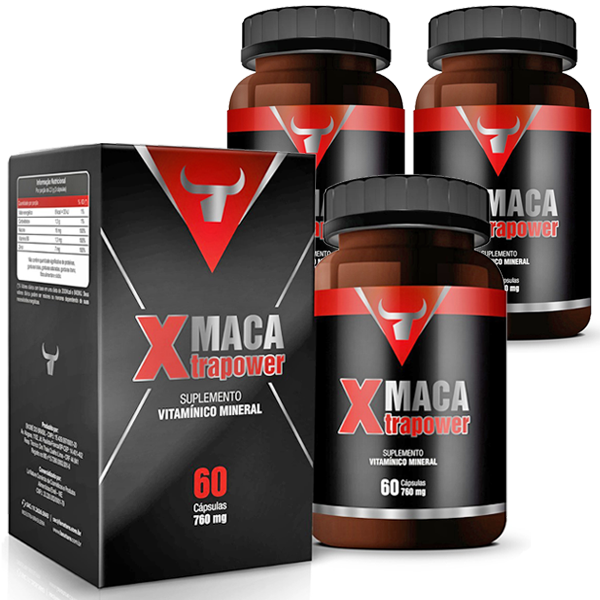 Estimulante Sexual - Maca Xtrapower 760mg - Original - 03 Potes (180 cáps.)