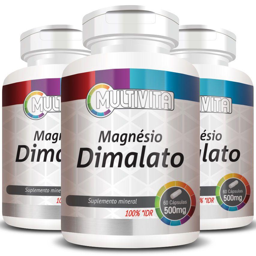 Magnésio Dimalato 260mg - 3 Potes (180 cáps.)