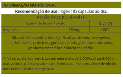 Magnésio Dimalato - 60 cápsulas de 500mg  - Natural Show - Produtos Naturais, Suplementos e Cosméticos