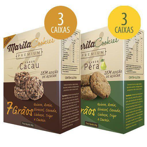 Marita Cookies Premium - Original - Misto: Cacau | Pêra - (06 Caixas)   - Natural Show - Produtos Naturais, Suplementos e Cosméticos