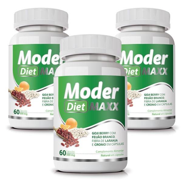 Moder Diet Maxx - Emagrecedor | Original | 500mg - 03 Potes   - Natural Show - Produtos Naturais, Suplementos e Cosméticos