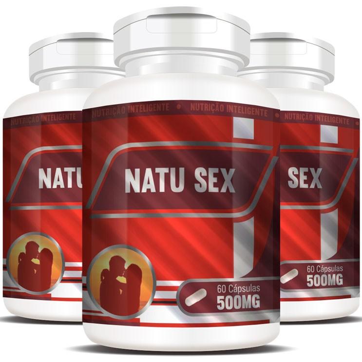 NatuSex 500mg - Original - 3 Potes com 60 cáps. (cada)
