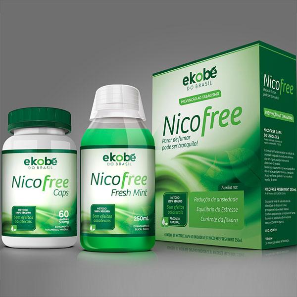 Nicofree   Kit Antitabagismo  60 Cáps + Enxaguante Bucal 250ml  - Natural Show - Produtos Naturais, Suplementos e Cosméticos
