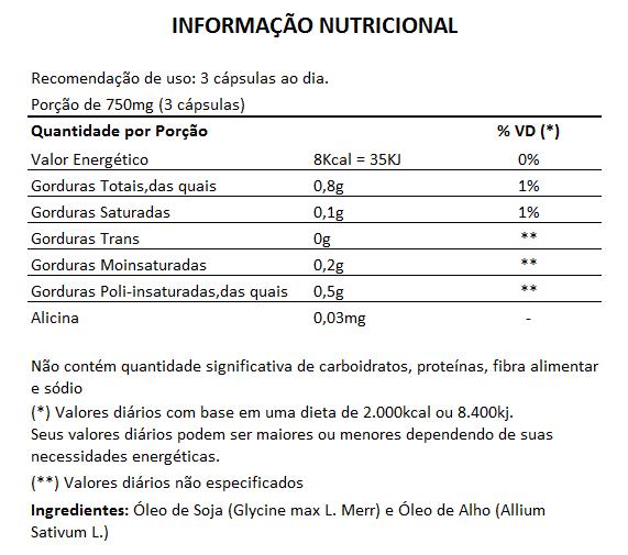 Óleo de Alho - 60 cápsulas de 250mg - Original  - Natural Show - Produtos Naturais, Suplementos e Cosméticos