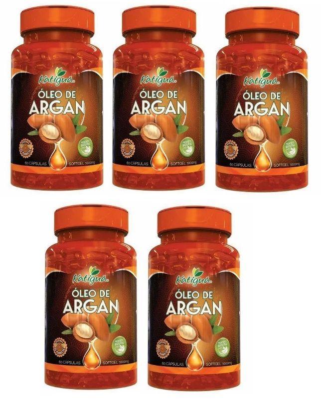 Óleo de Argan Original (Slim Fit) - 1000mg - 05 Potes  - Natural Show - Produtos Naturais, Suplementos e Cosméticos