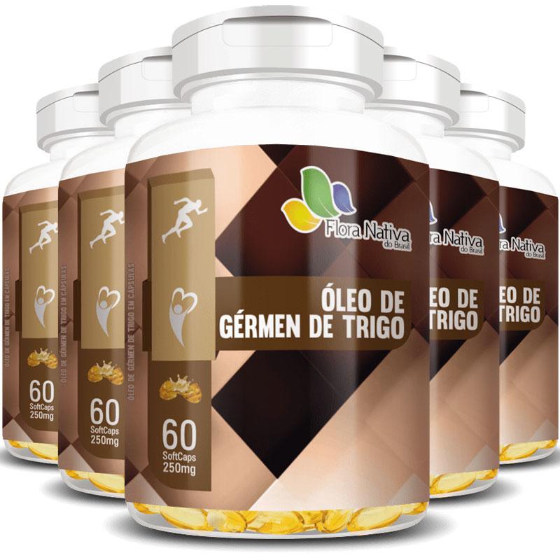 Óleo de Gérmen de Trigo 250mg - 100% Puro - 5 Potes com 60 cáps. (cada)