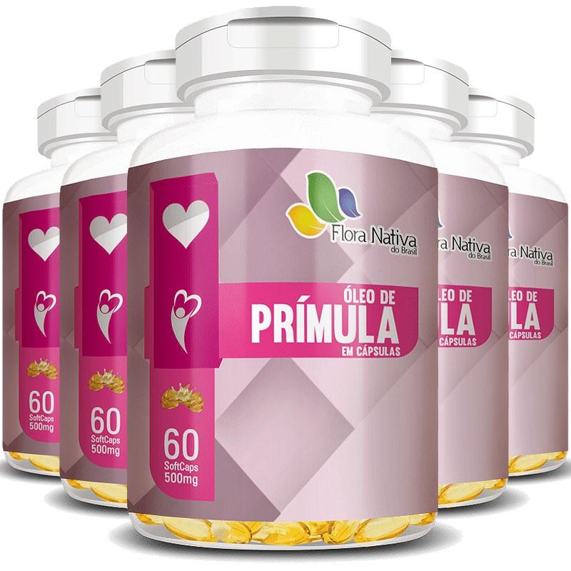 Óleo de Prímula 500mg - 100% Puro - 5 Potes com  60 cáps. (cada)