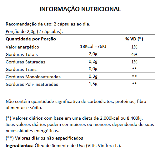 Óleo de Semente de Uva, Puro - 60 cápsulas de 1000mg  - Natural Show - Produtos Naturais, Suplementos e Cosméticos