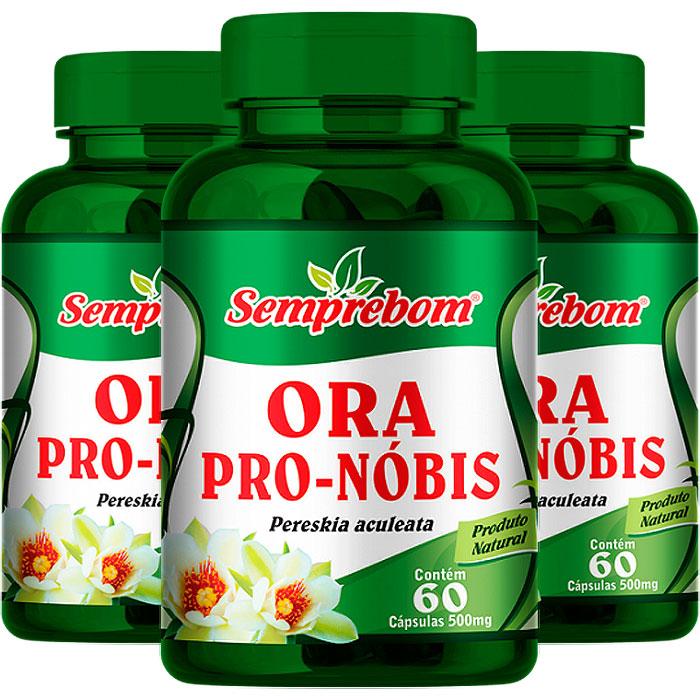 Ora Pro-Nóbis 500mg - A Legítima -100% Pura - 03 Potes (180 cáps.)