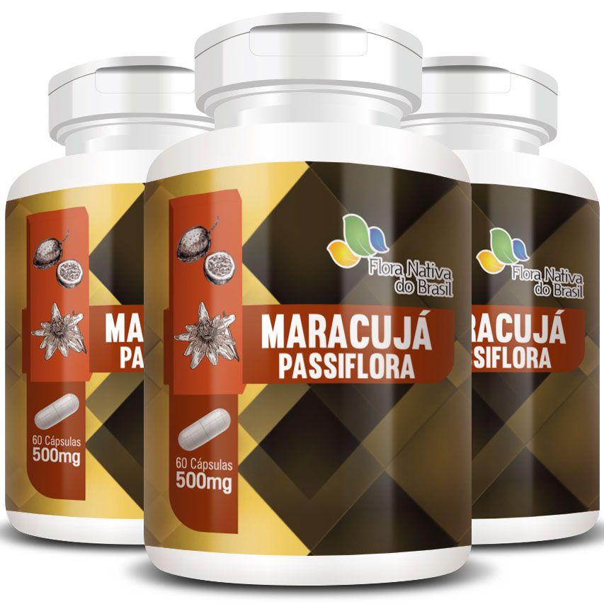 Passiflora (Maracujá) 500mg - 03 Potes (180 cáps.)