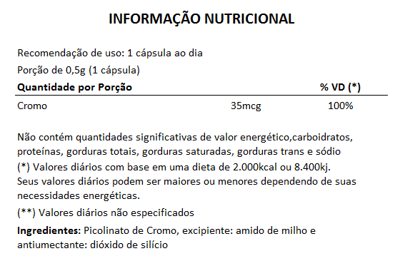 Picolinato de Cromo - 500mg - 5 Potes  - Natural Show - Produtos Naturais, Suplementos e Cosméticos