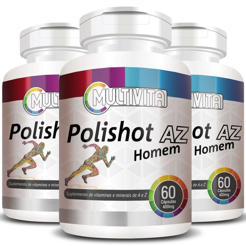 Polishot AZ Homem (Polivitaminico / Multivitaminico)  500mg - 03 Potes  - Natural Show - Produtos Naturais, Suplementos e Cosméticos