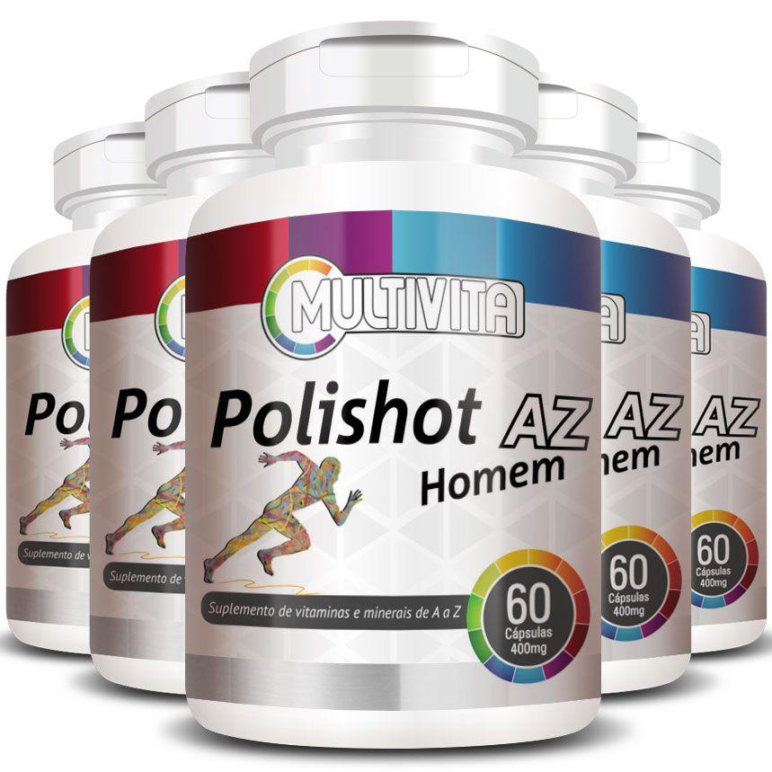 Polishot AZ Homem (Polivitaminico / Multivitaminico)  500mg - 05 Potes  - Natural Show - Produtos Naturais, Suplementos e Cosméticos
