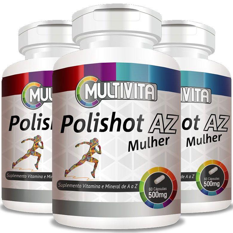 Polishot AZ Mulher (Polivitaminico / Multivitaminico)  500mg - 03 Potes  - Natural Show - Produtos Naturais, Suplementos e Cosméticos