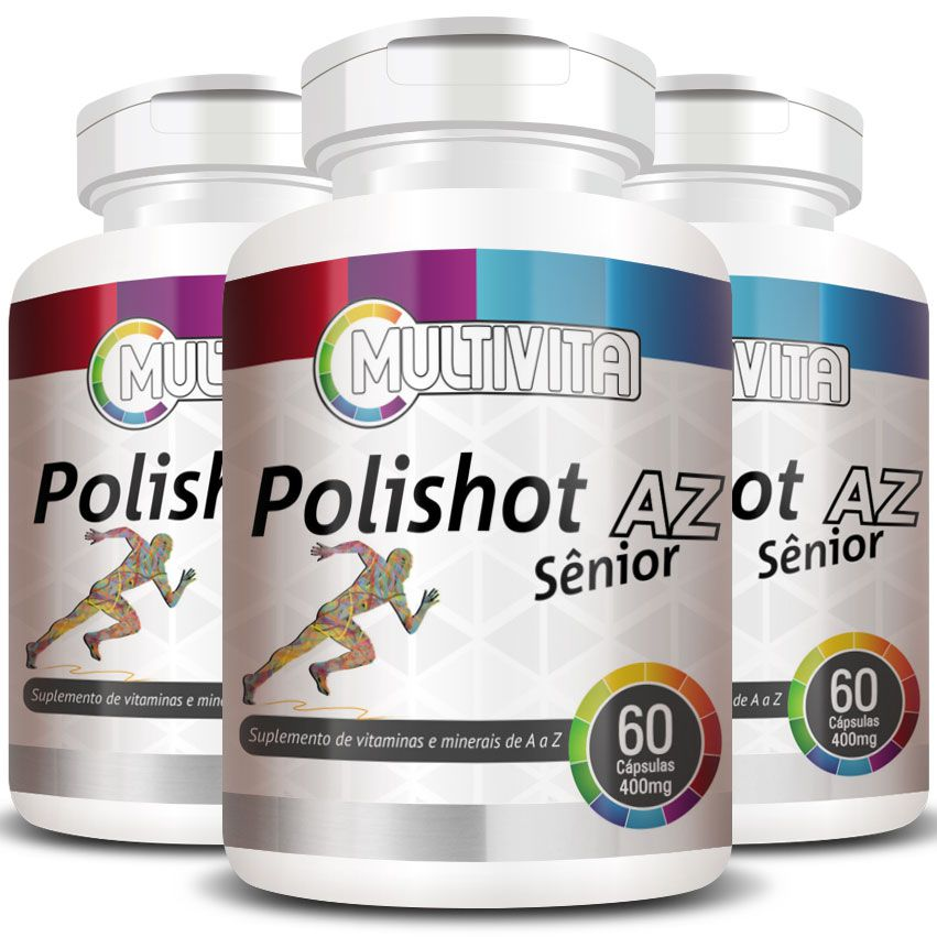 Polishot AZ Senior (Polivitaminico / Multivitaminico)  400mg - 03 Potes  - Natural Show - Produtos Naturais, Suplementos e Cosméticos