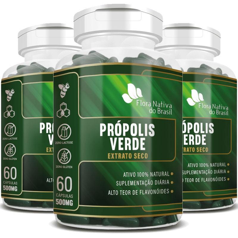 Própolis Verde - Extrato Seco - 500mg - 03 Potes com 60 cápsulas (cada)