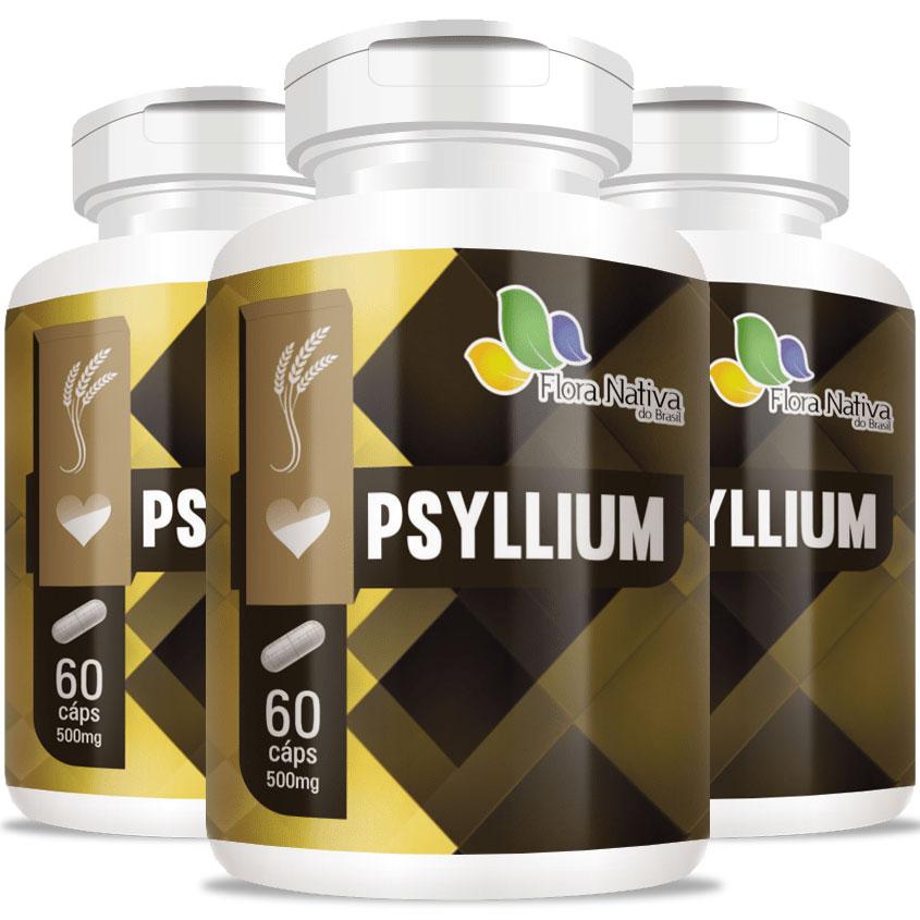 Psyllium 500mg - Rico em Fibras - 3 Potes (180 cáps.)
