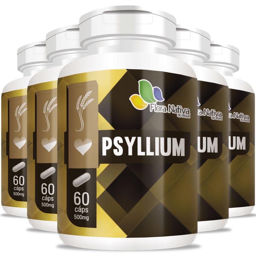 Psyllium 500mg - Emagrecedor Rico em Fibras - 5 Potes (300 cáps.)