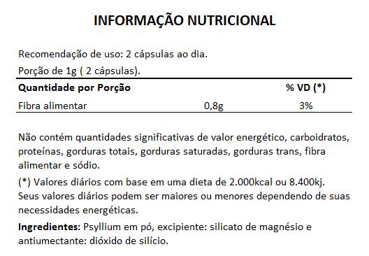 Psyllium - 60 cápsulas de 500mg  - Natural Show - Produtos Naturais, Suplementos e Cosméticos