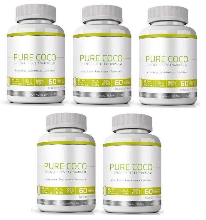 Pure Coco - Original - Óleo Coco Extra Virgem 100% - Emagrecedor - 05 Potes  - Natural Show - Produtos Naturais, Suplementos e Cosméticos