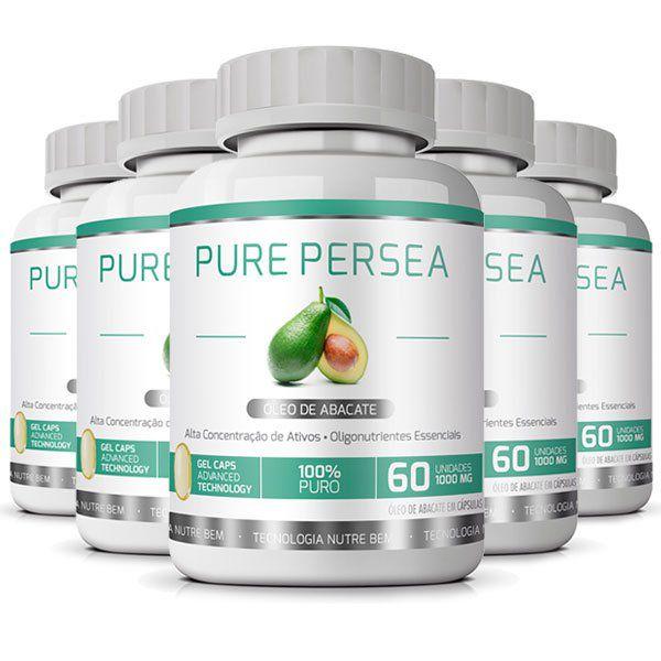 Pure Persea - Original - Óleo de Abacate 100% - Emagrecedor - 05 Potes   - Natural Show - Produtos Naturais, Suplementos e Cosméticos