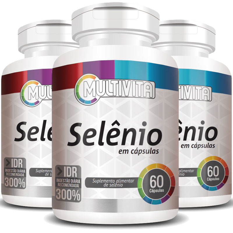 Selênio 102mcg - 300% IDR - 3 Potes (180 cáps.)