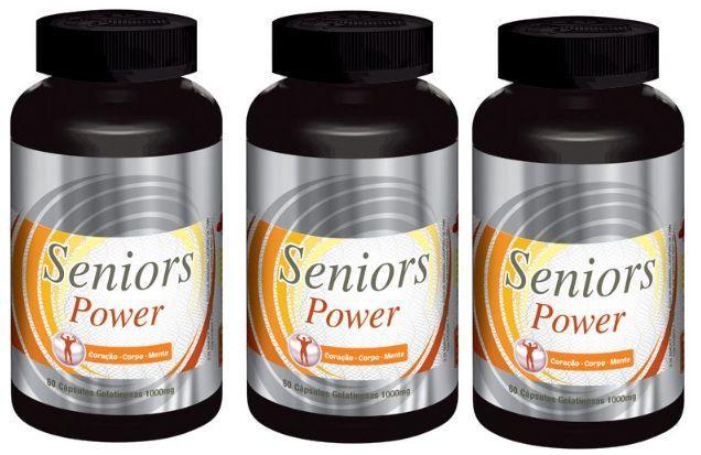 Seniors Power - Original -1000mg   Estimulante Sexual Masculino   03 Potes  - Natural Show - Produtos Naturais, Suplementos e Cosméticos