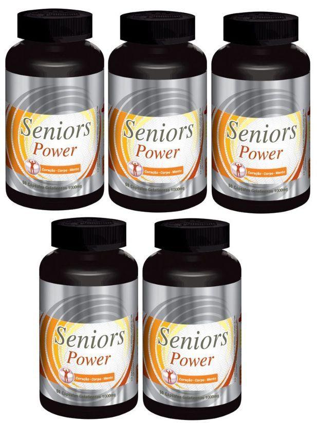 Seniors Power - Original -1000mg | Estimulante Sexual Masculino | 05 Potes  - Natural Show - Produtos Naturais, Suplementos e Cosméticos