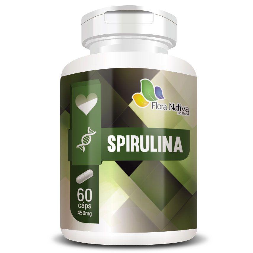 Spirulina - 100% Pura - 60 cápsulas de 450mg - Original  - Natural Show - Produtos Naturais, Suplementos e Cosméticos
