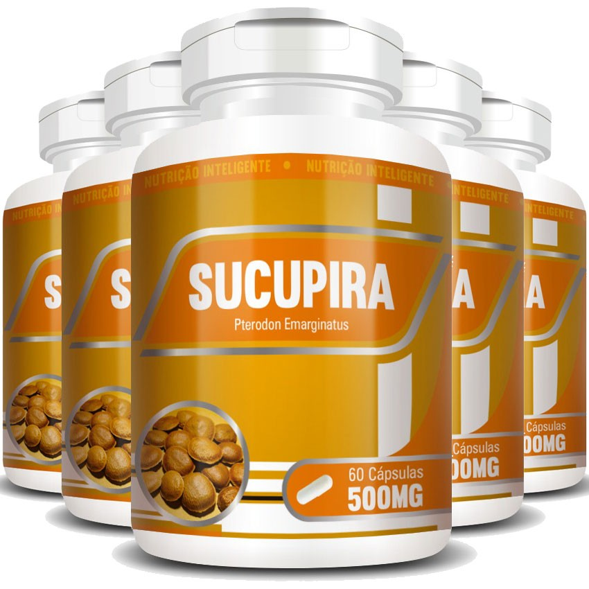 Sucupira - Original - 500mg - 05 Potes (300 cáps.)