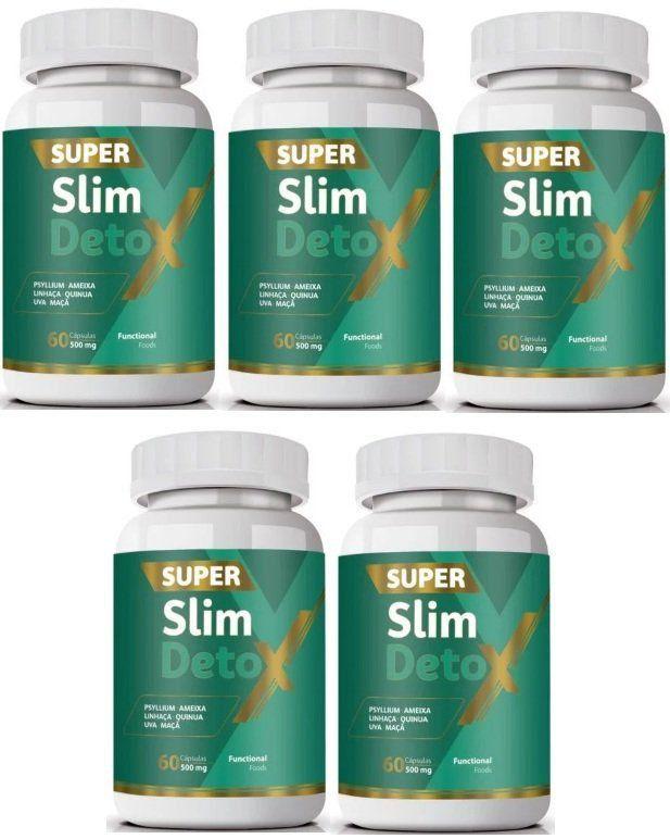 Super Slim Detox - Emagrecedor - Original | 500mg | 05 Potes   - Natural Show - Produtos Naturais, Suplementos e Cosméticos